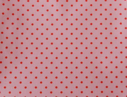 tissu rose pois rouge rico design