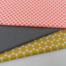 tissus imprimés fleurs, zigzag et pois fluo rico design