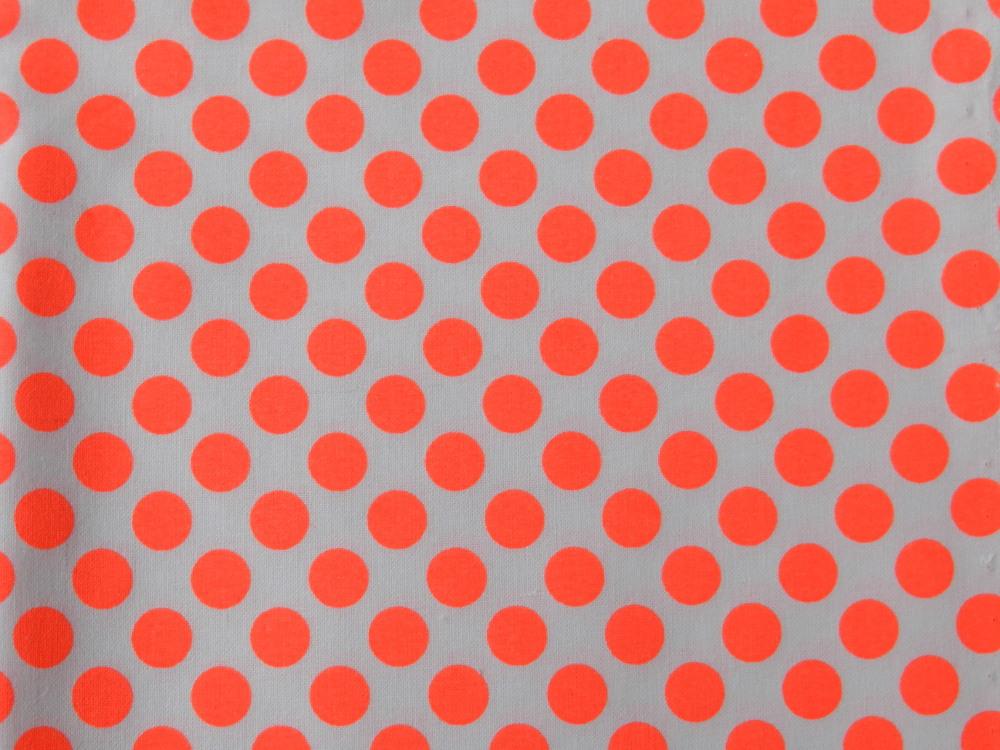 tissu pois orange fluo rico design. Black Bedroom Furniture Sets. Home Design Ideas
