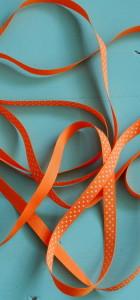 ruban gros grain orange pois blanc 10 mm