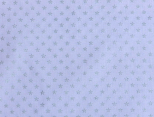 Tissu stars blanc et argent 100% coton