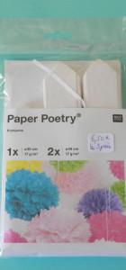 lot de 3 pompons papier de soie Rico design blanc