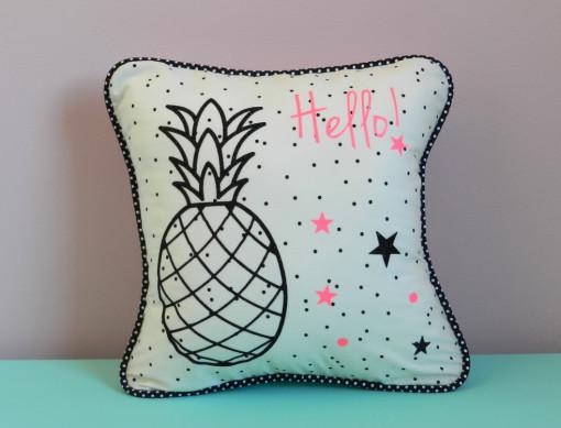 Kit ananas flex noir pailleté et rose fluo