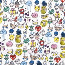 tissu jersey icones multicolores Rico design 100% coton