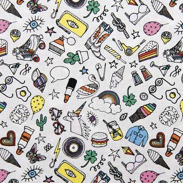 tissu enduit icons multicolore Rico design