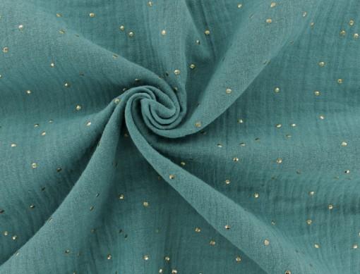 tissu-double-gaze-de-coton-pois-dore-eucalyptus-x-10cm