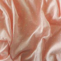 tissu double gaze gaufrée rose étoiles blanches domotex