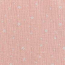 tissu double gaze rose étoiles blanches oeko tex