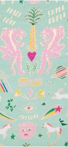 Tissu jersey tigre menthe et rose fluo Rico Design 100% coton