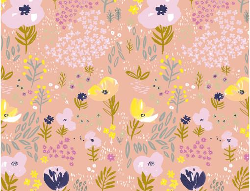 Tissu orange fleurs métallisées Rico design 100% coton
