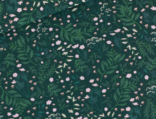 tissu sweat flower garden vert see you at six