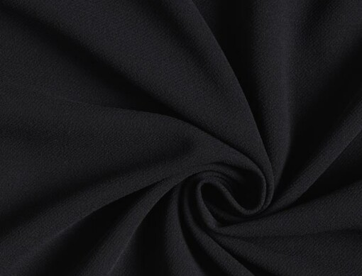 Tissu crêpe polyester noir