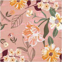 Tissu fleurs vieux rose Rico design