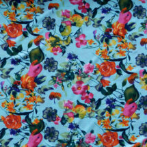 tissu polyester lagon imprimé fleuri