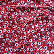 Tissu viscose rouge imprimé fleurs