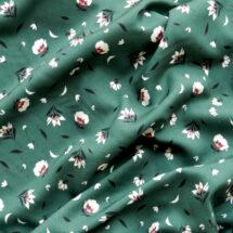 Tissu viscose vert imprimé fleurs