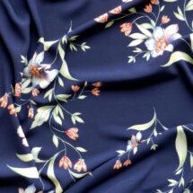 Tissu polyester marine imprimé fleurs