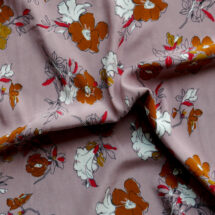 Tissu polyester vieux rose imprimé fleurs
